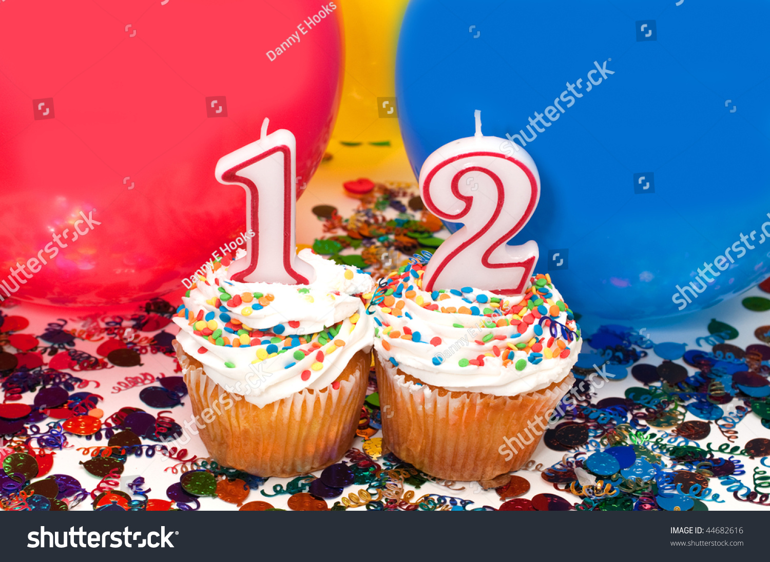 Celebration With Balloons Confetti Cupcake And Number
