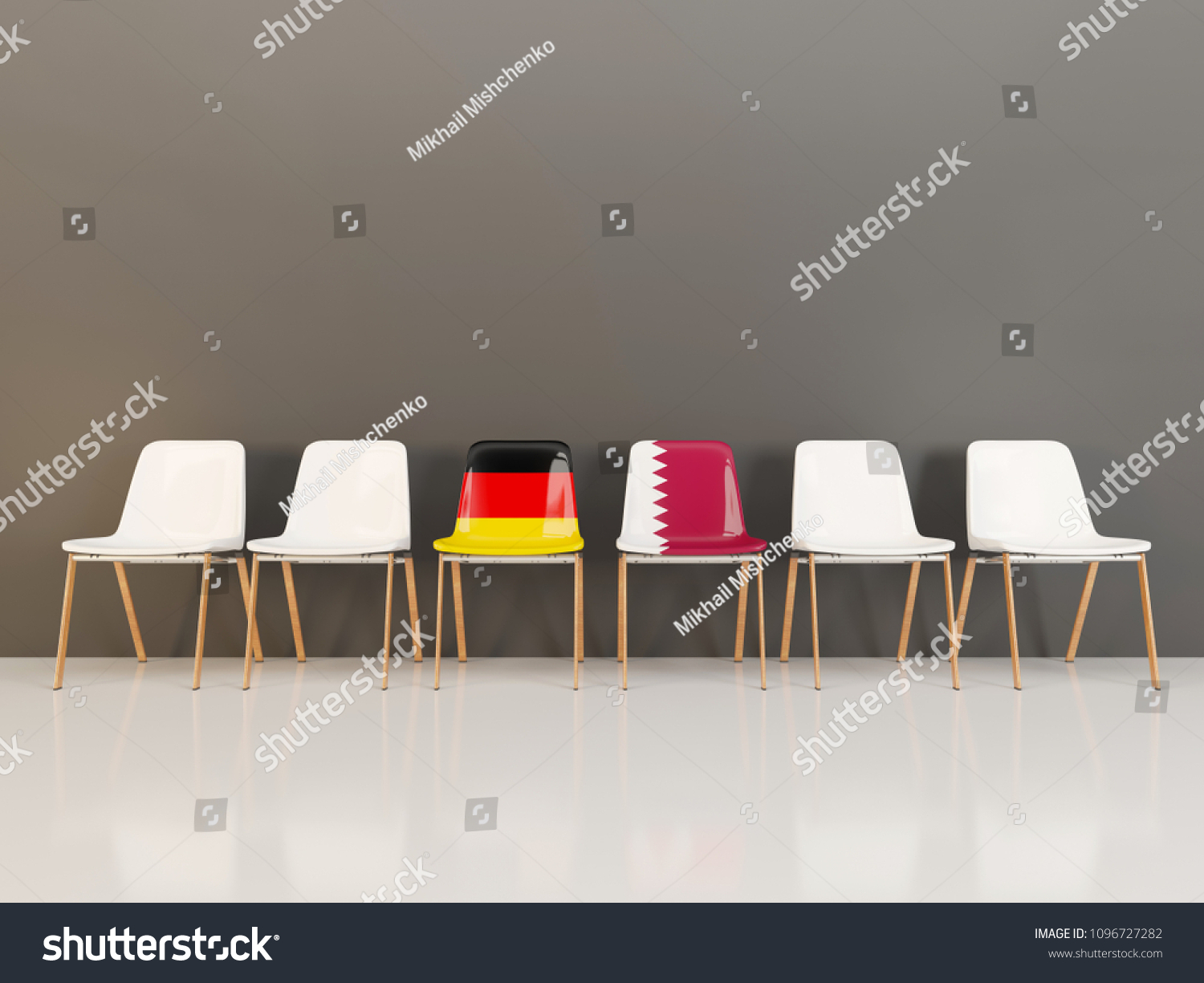 folding chair qatar kitchen side chairs flag germany row 3 d stock illustration royalty free with of and in a 3d