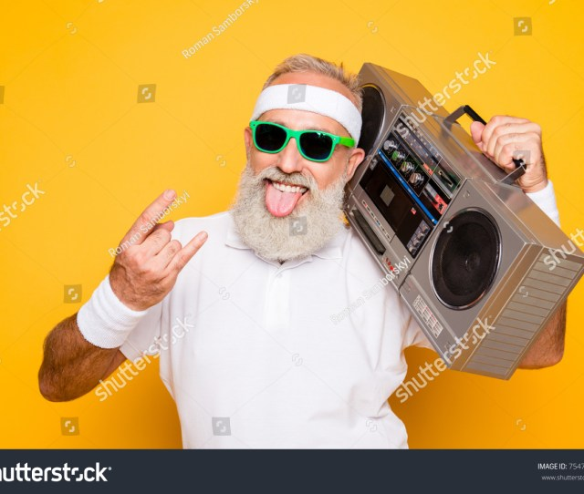 Cheerful Excited Aged Funny Active Sexy Athlete Cool Pensioner Grandpa In Eyewear With Bass Clipping Ghetto