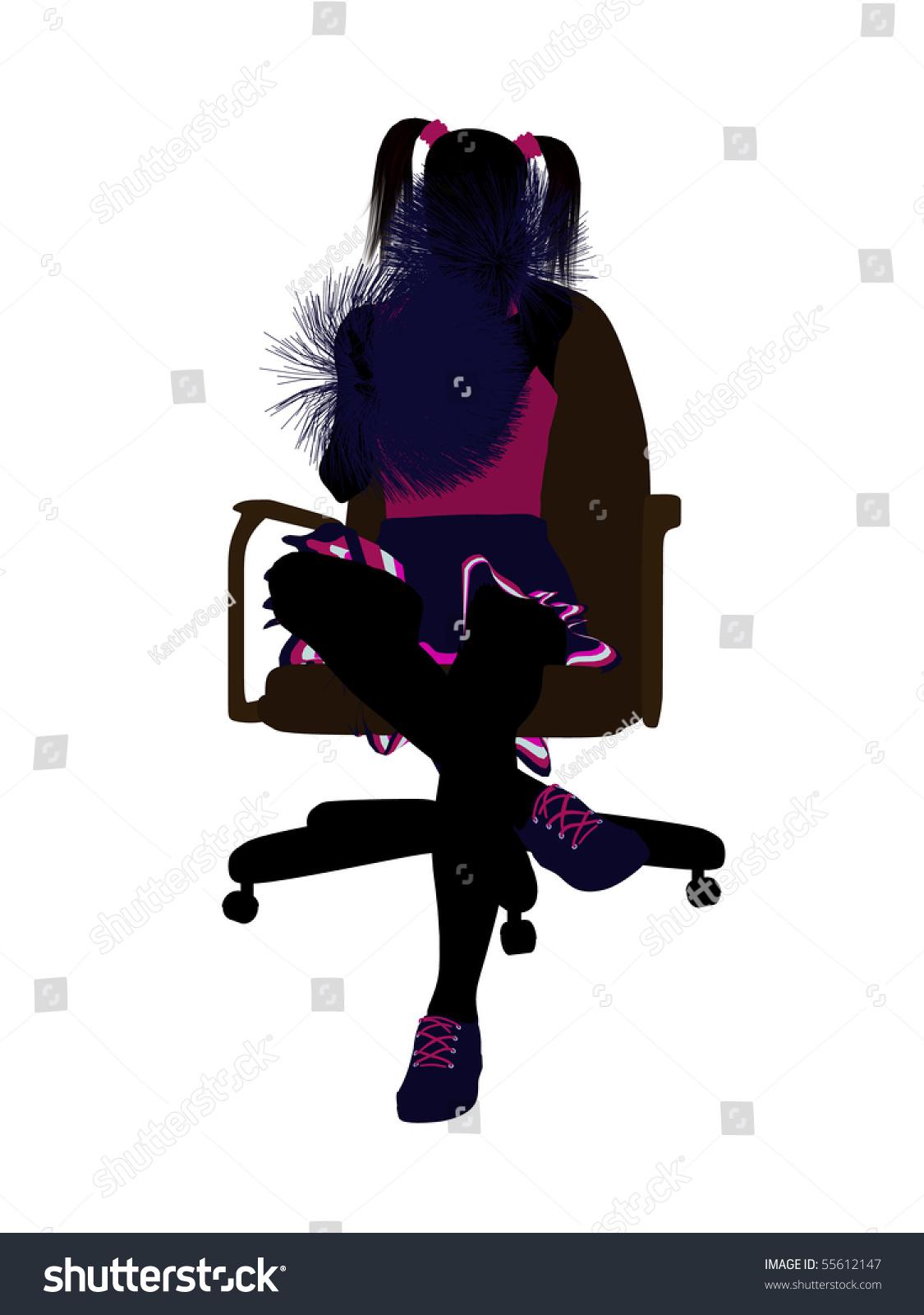 office chair illustration glider rocker covers cheerleader sitting on silhouette stock