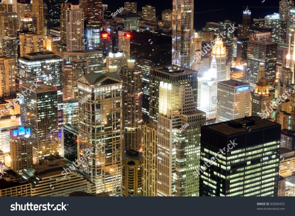 Chicago Downtown Skyscrapers Night. View Willis