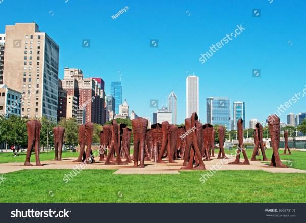 Chicago Skyline Agora Sculptures Grant Park Stock