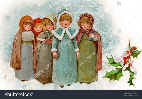 Children Christmas Carollers Circa 1900 Vintage Stock
