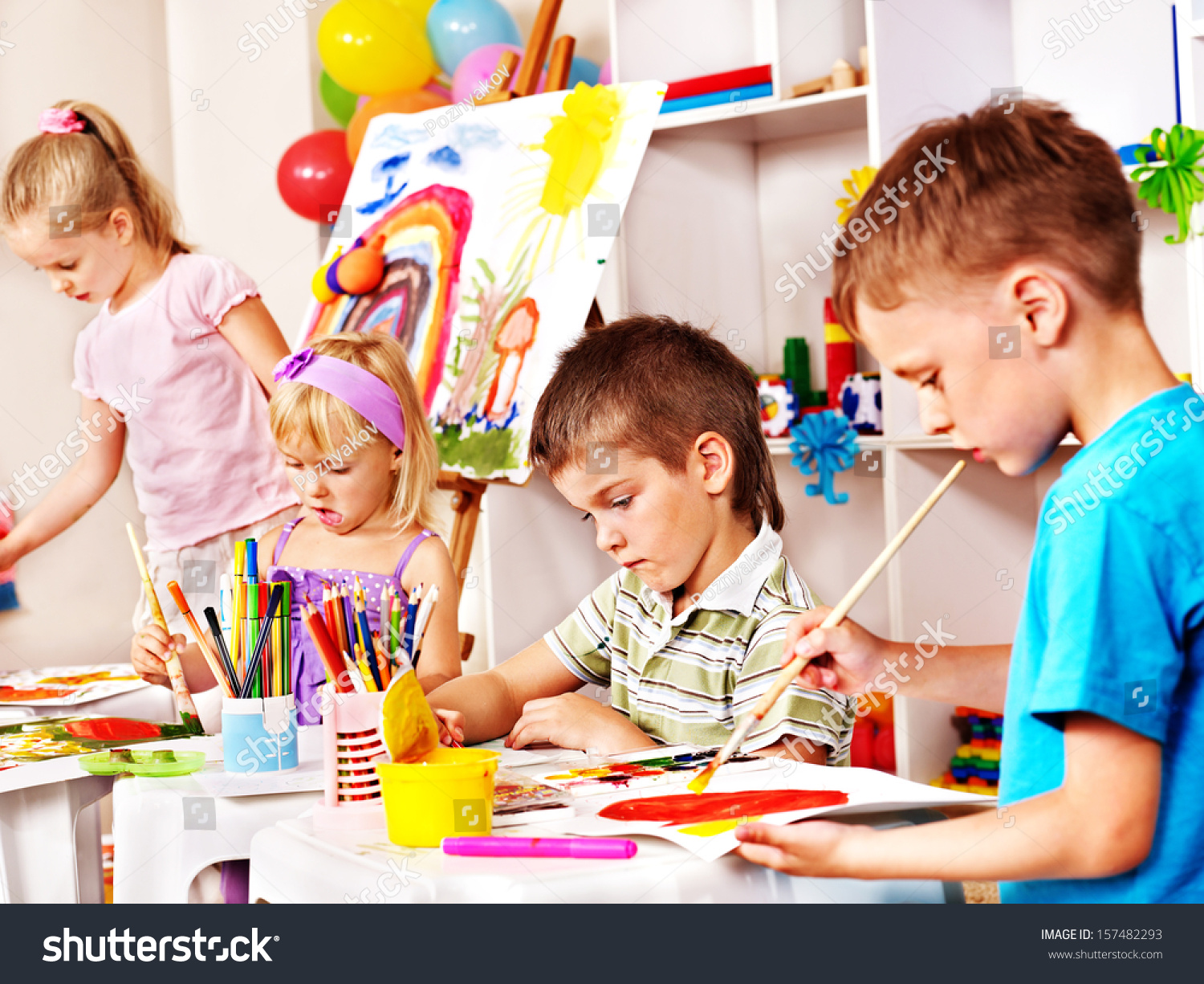 Children Painting Easel School Education Stock Photo