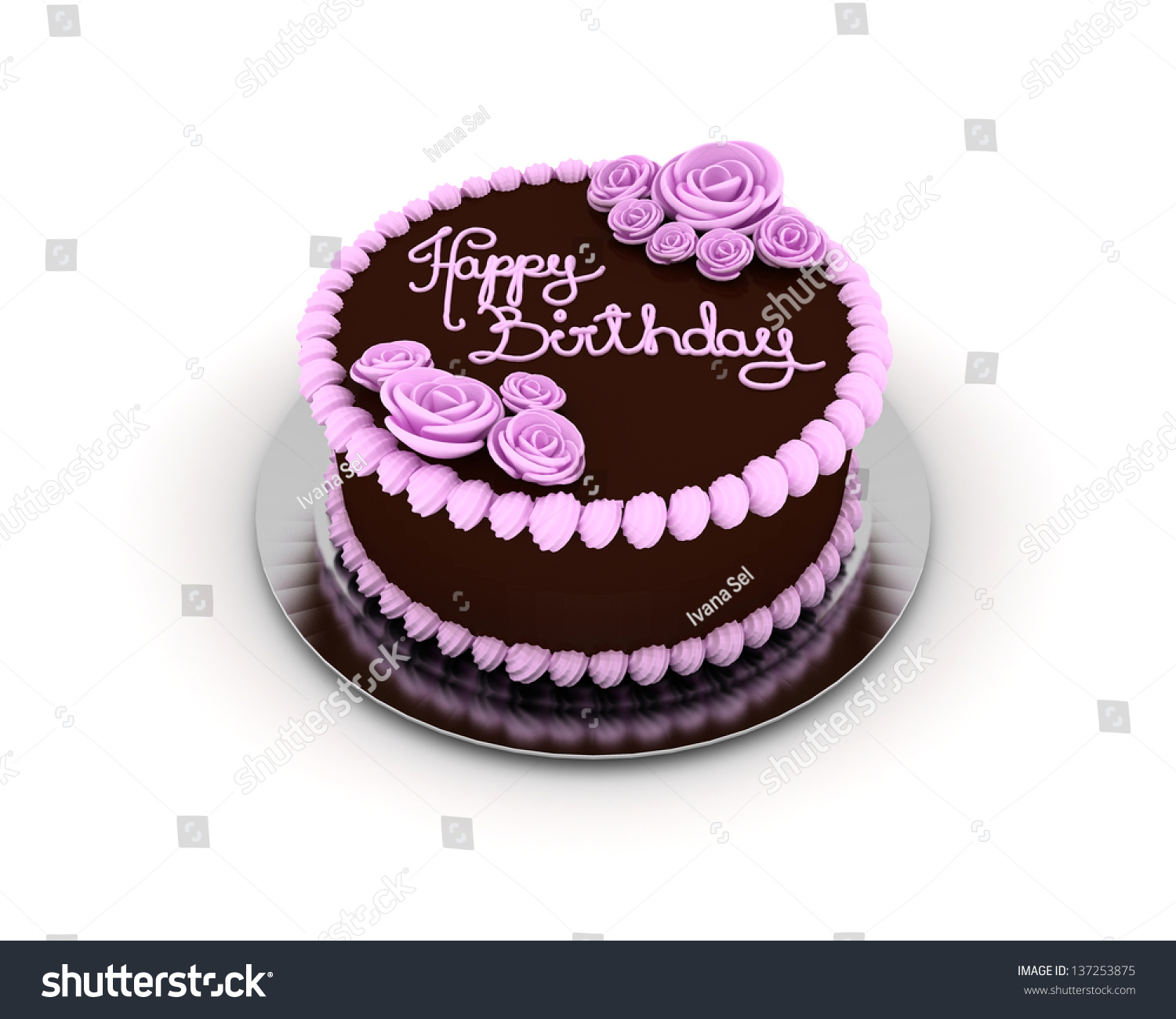 Chocolate Birthday Cake Decorated Pink Ornaments Stock