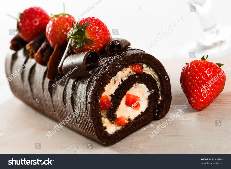 Chocolate Swiss Roll Cake Strawberries Stock Photo