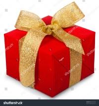 Christmas Gift Box Gold Ribbon Bow Stock Photo 66278239 ...