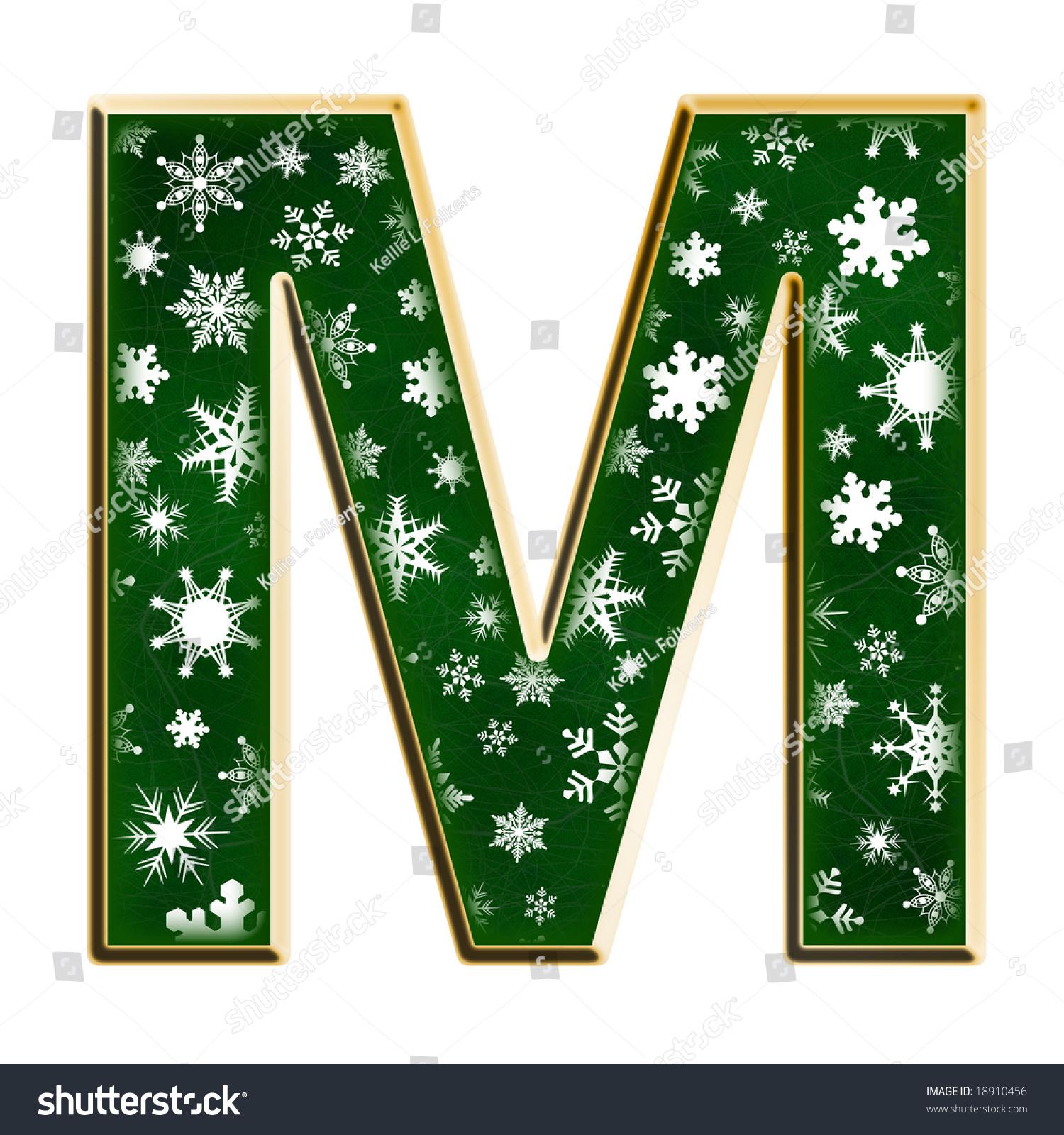 Christmas Green Snowflake Capital Letter M Stock