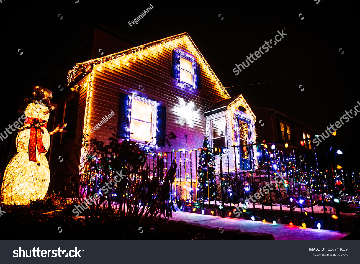 Christmas Lights On Front House Beautiful Stock Photo Edit Now 1226944639