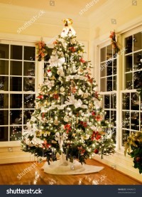 Christmas Tree Decorated Silver White Ribbons Stock Photo ...