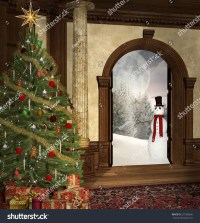 Christmas Tree Old Mansion Open Door Stock Illustration ...