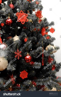 Christmas Tree In Black And White With Red Decorations ...