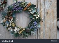 Christmas Wreath On The Entrance Door Stock Photo ...