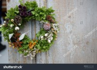 Christmas Wreath On Entrance Door Stock Photo 518713360 ...