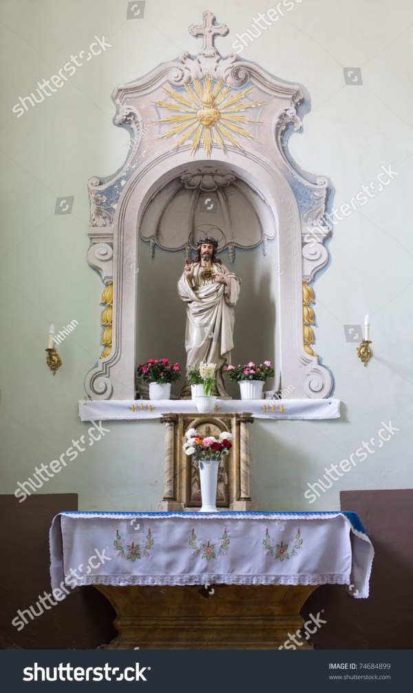 Church Interior Small Altar With Sculpture Of Jesus