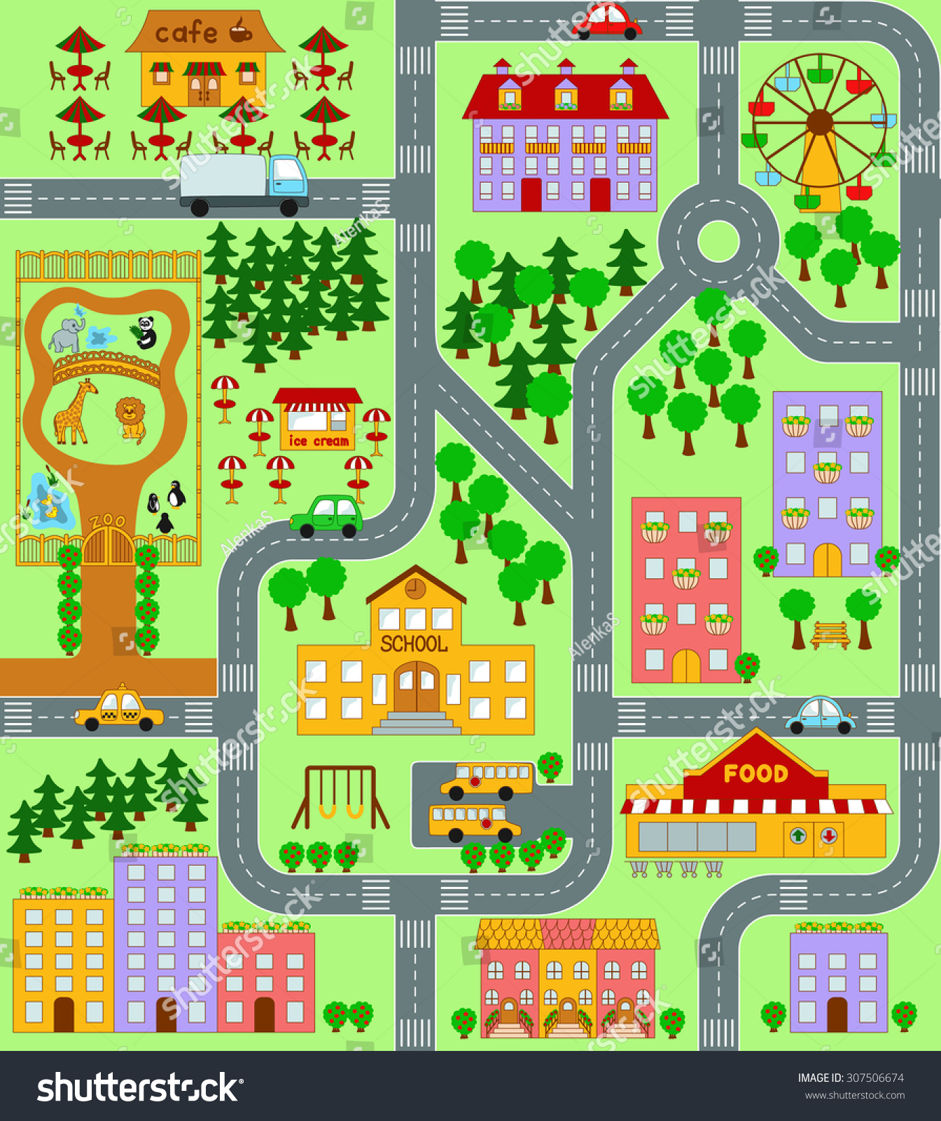 City Map Kids Seamless Pattern Stock Illustration
