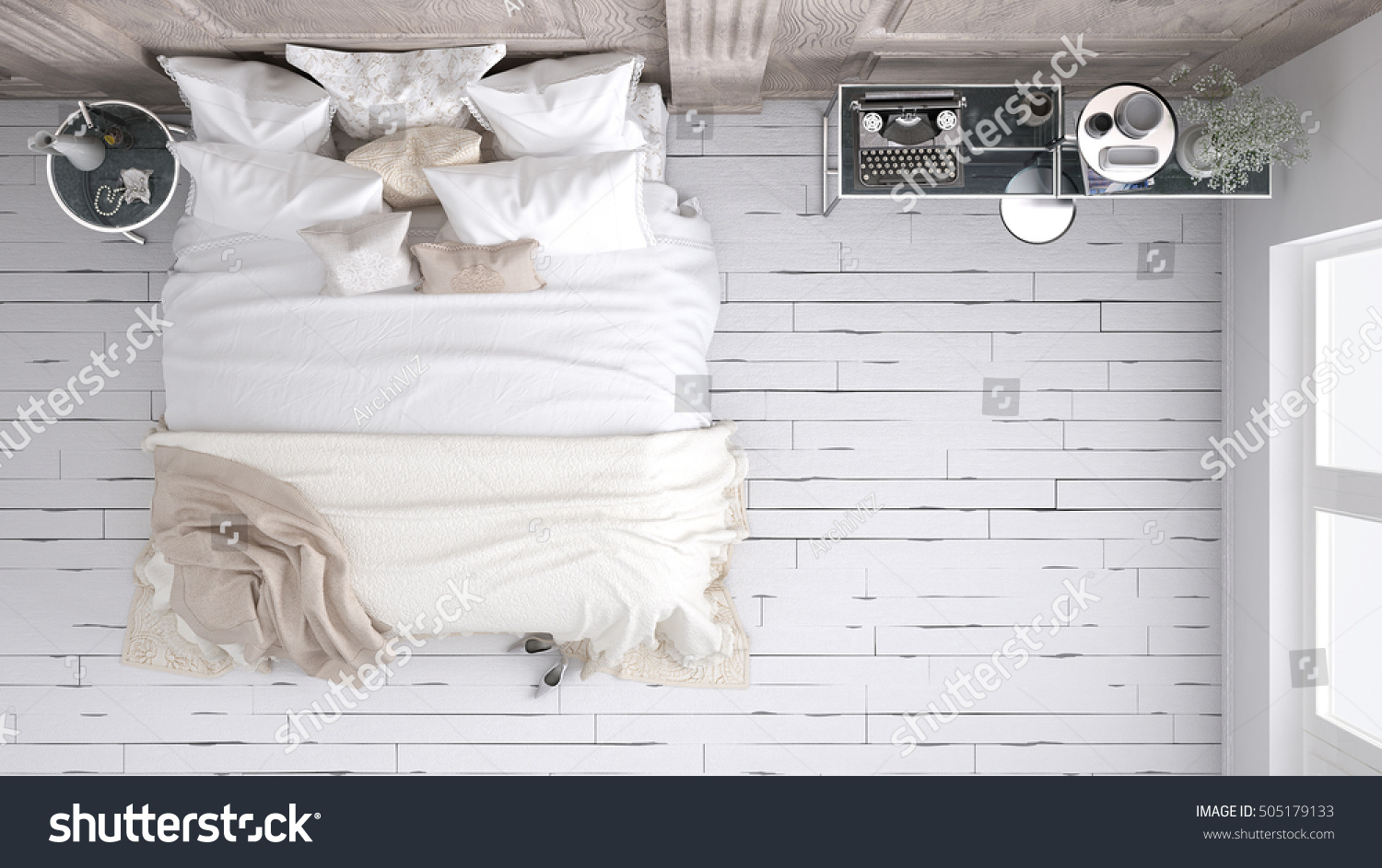 Classic Bedroom Top View 3d Illustration Stock
