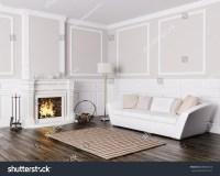 Classic Interior Design Living Room White Stock ...