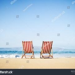 Vintage Beach Chairs Beauty Salon Uk Classic On Sunny Tropical Stock