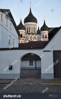 Classical Ornate Facade With Wooden Colorful Door Tallinn