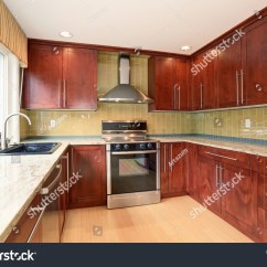 Cleaning Kitchen Wood Cabinets Appliance Packages Costco Clean Style Stained Stock Photo