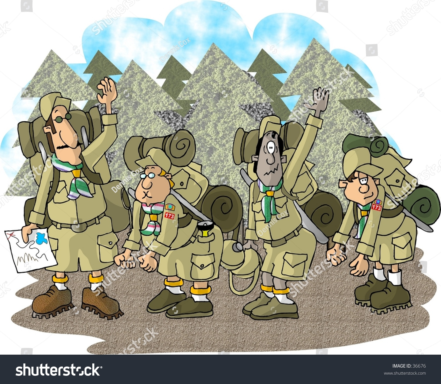 hight resolution of clipart illustration of a boy scout troop on a hike