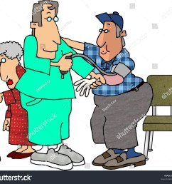clipart illustration of a male nurse checking a man s blood pressure [ 1500 x 1365 Pixel ]