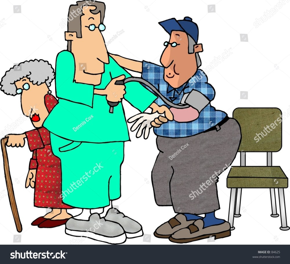 medium resolution of clipart illustration of a male nurse checking a man s blood pressure
