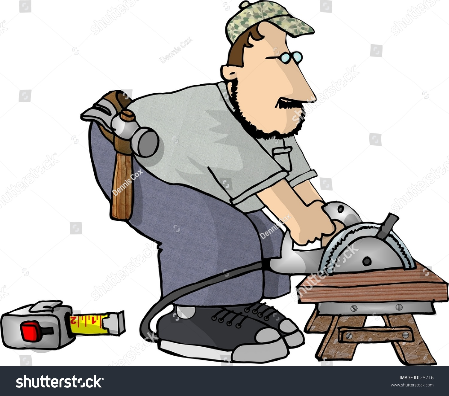 hight resolution of clipart illustration of a man cutting wood with a power saw