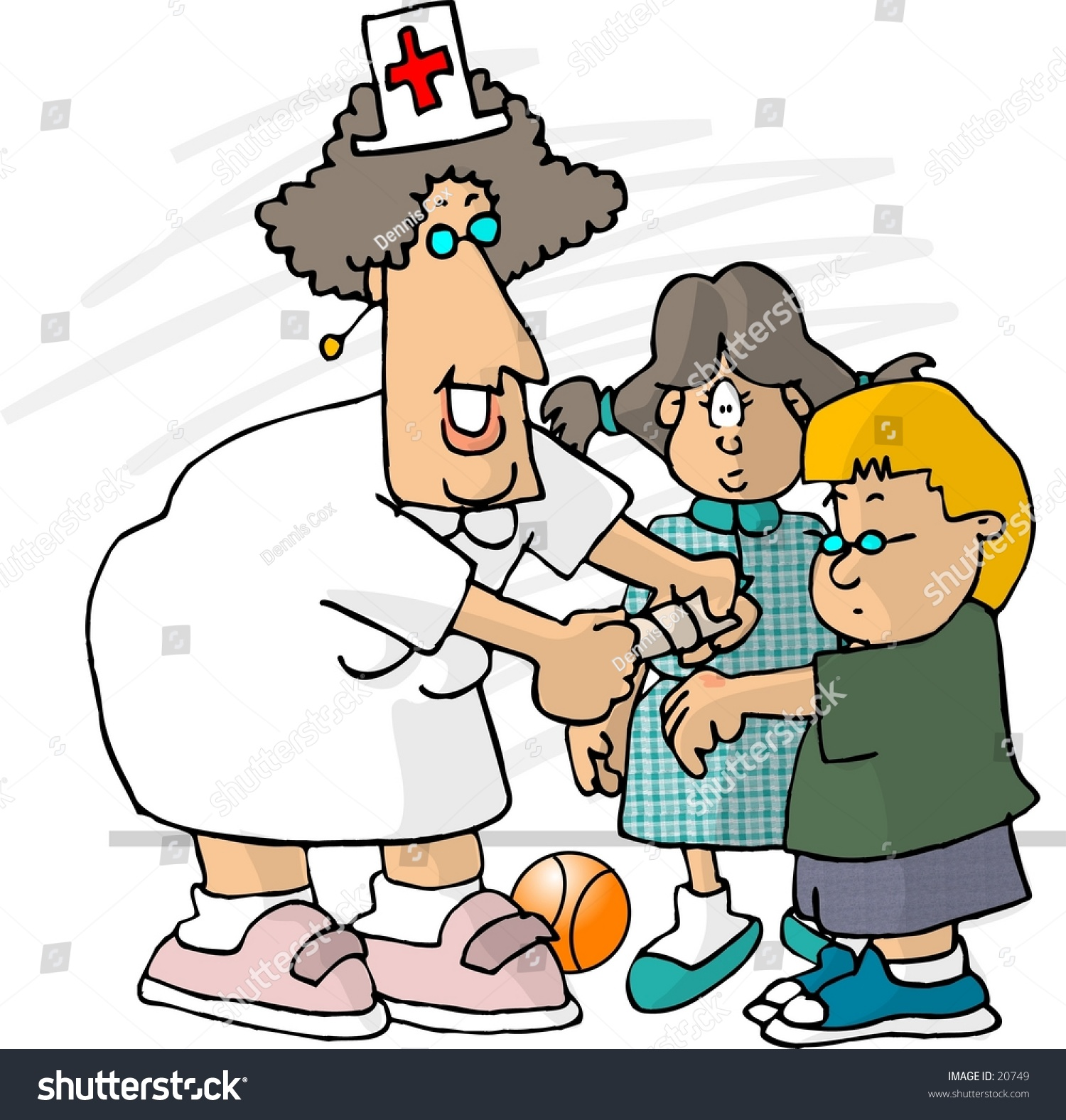 hight resolution of clipart illustration of a school nurse putting a bandaid on a small boy