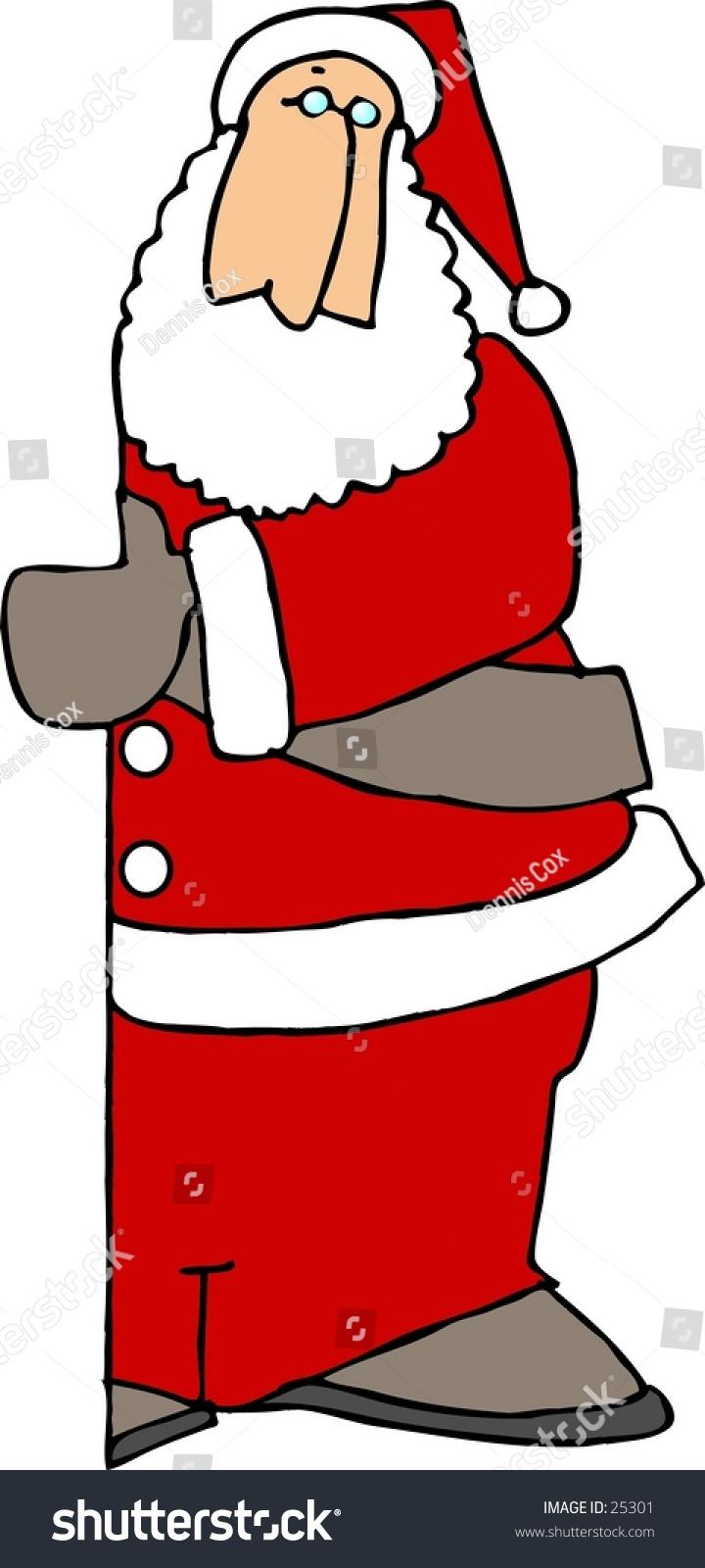 hight resolution of clipart illustration of santa claus peeking around a door