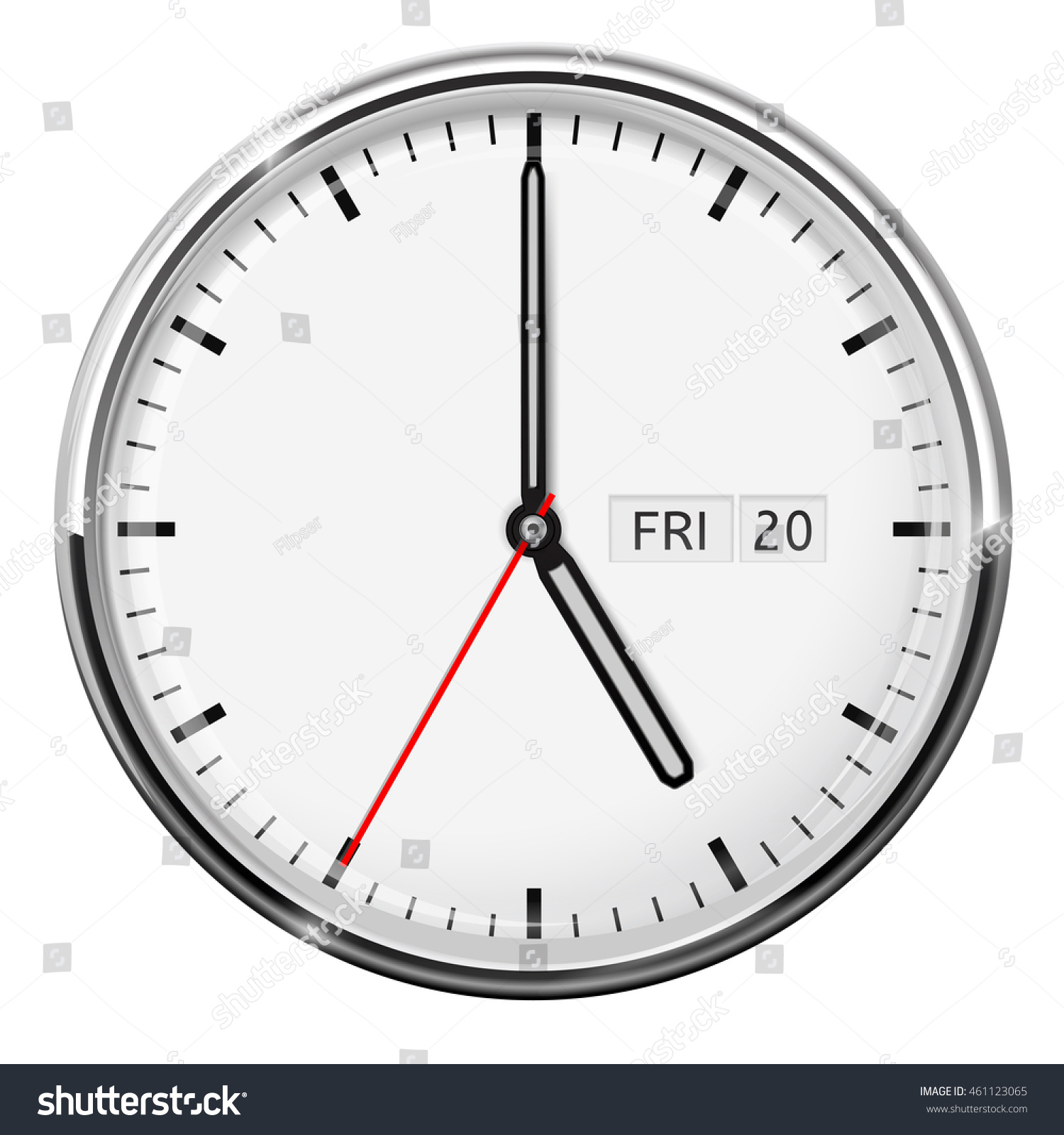 Oclock Full Version Clock Five Oclock Illustration Isolated On Stock