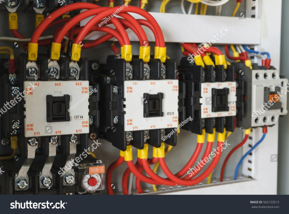 medium resolution of close up electrical wiring with fuses and contactors
