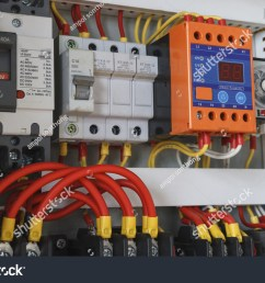 close up electrical wiring with timer and contactors  [ 1500 x 1057 Pixel ]