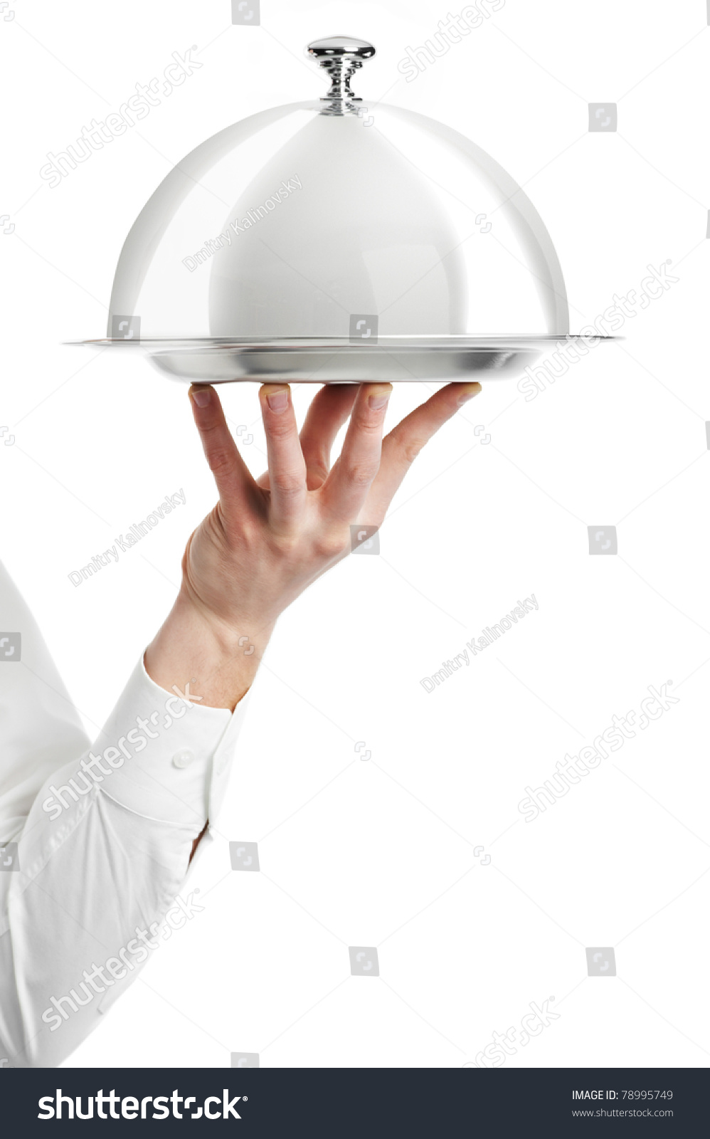 Close Hand Waiter Metal Cloche Lid Stock Photo 78995749