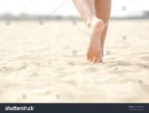 Close Angle Woman Barefoot Walking Beach Stock