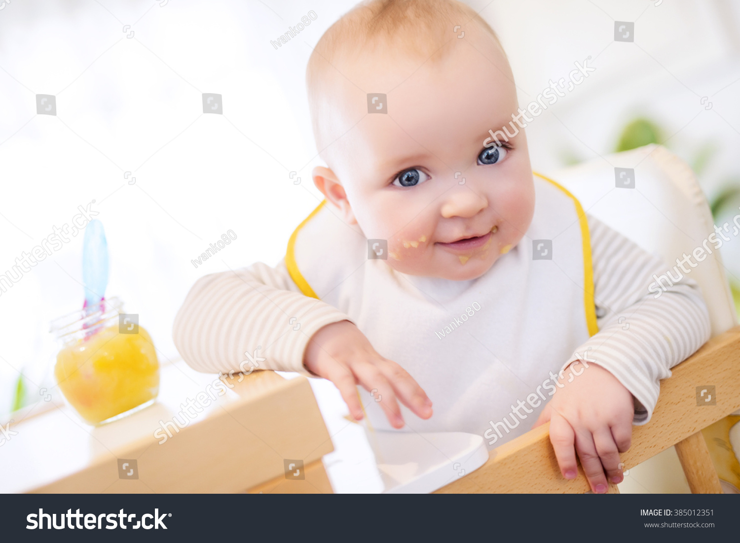 High Chair For Baby Boy Close Baby Boy High Chair Looking Stock Photo 385012351
