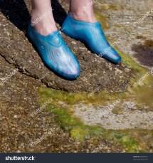 Closeup Young Womans Feet Wearing Swim Stock