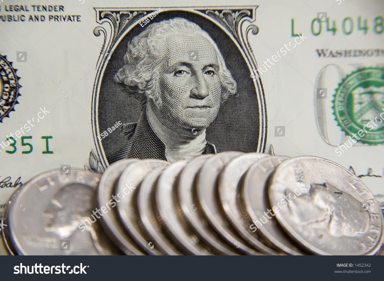 Closeup George Washingtons Face On Us Stock Photo