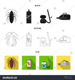 cockroach and equipment for disinfection black flat outline icons in set collection for design [ 1500 x 1600 Pixel ]