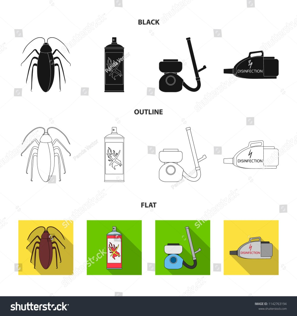 medium resolution of cockroach and equipment for disinfection black flat outline icons in set collection for design