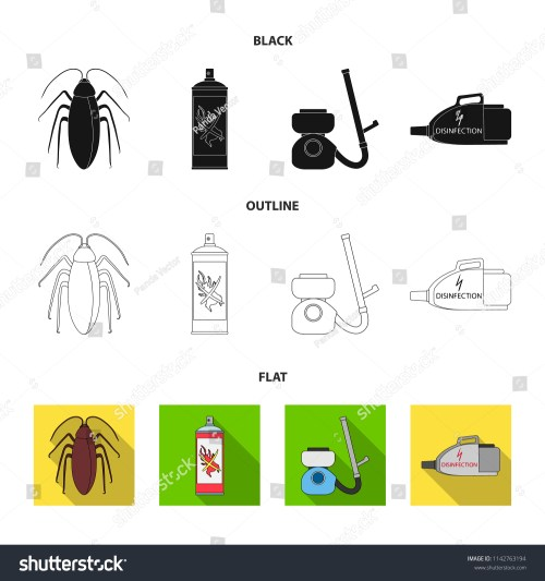 small resolution of cockroach and equipment for disinfection black flat outline icons in set collection for design
