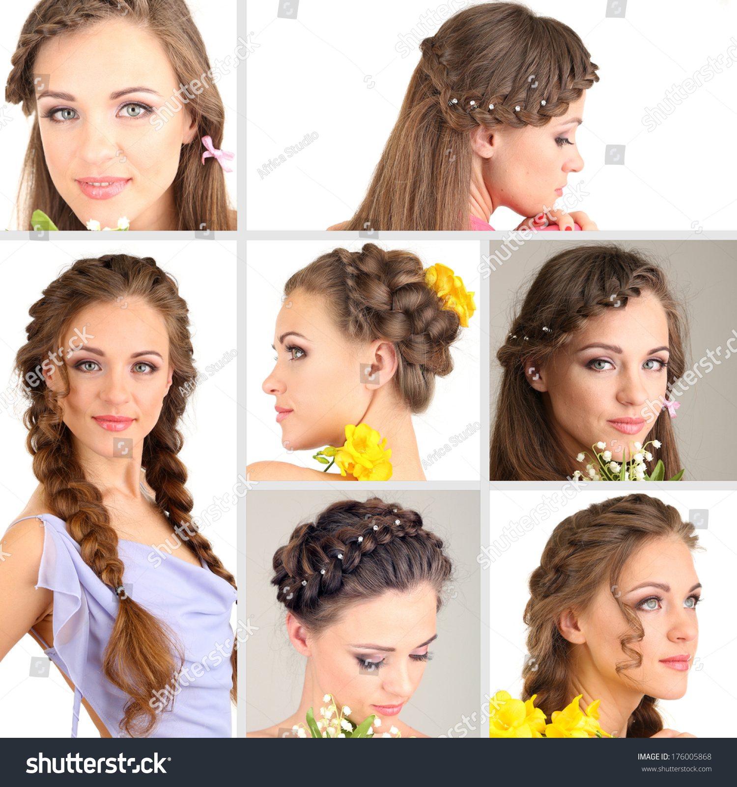 Collage Beautiful Girl Different Hairstyles Stock Photo 176005868