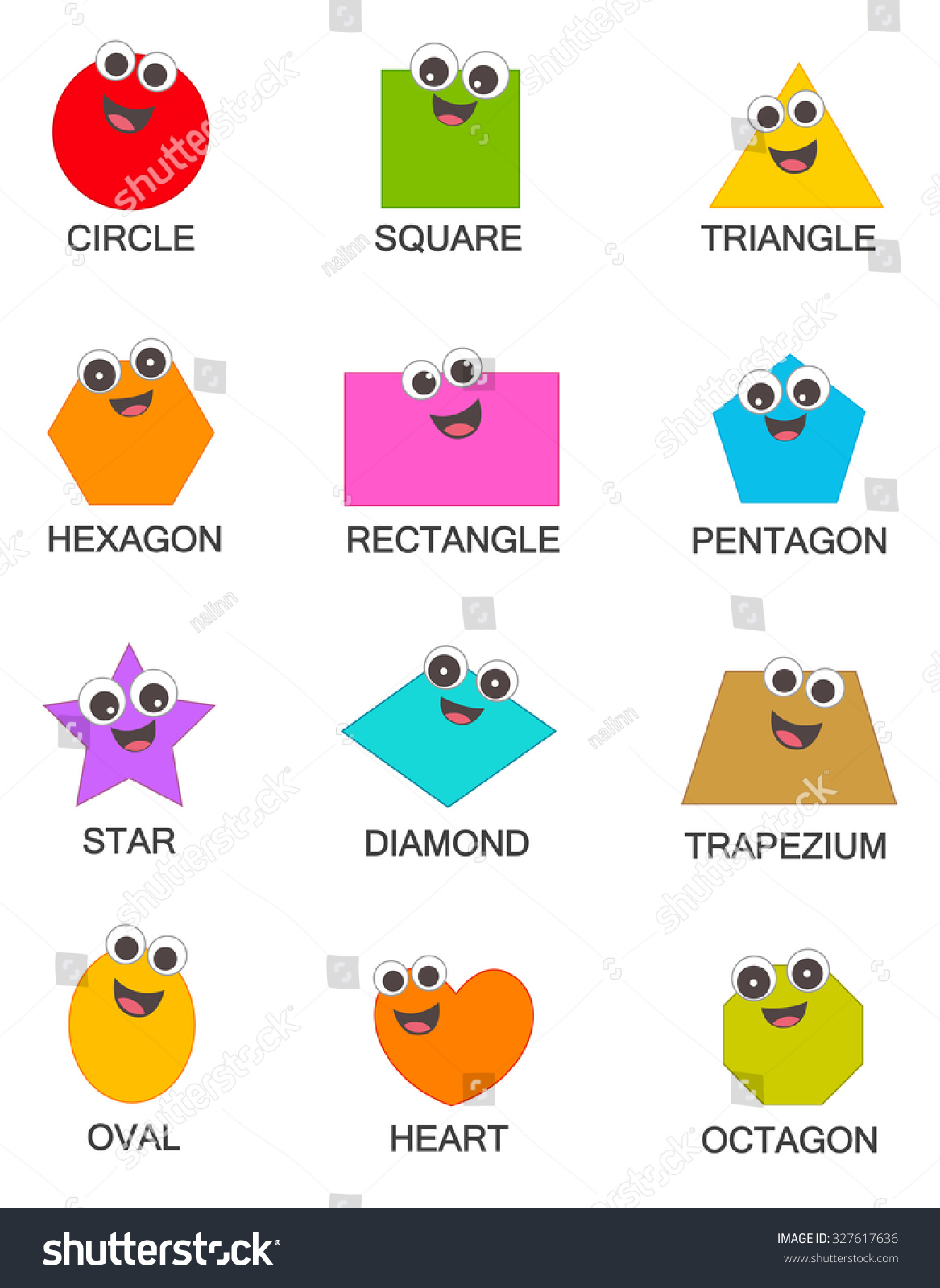 Collection Colorful Geometric Shapes Isolated On Stock Illustration