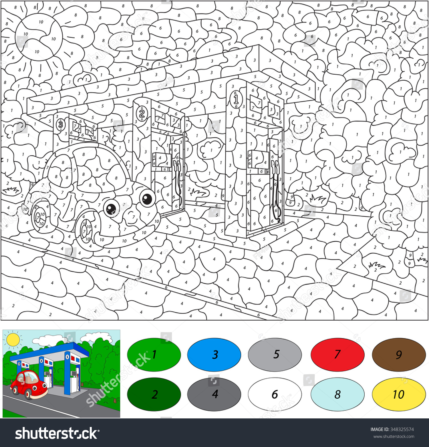 hight resolution of color by number educational game for kids car gas or petrol station illustration for
