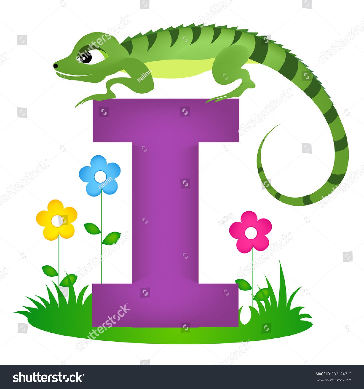 Colorful Animal Alphabet Letter Cute Iguana Stock Illustration