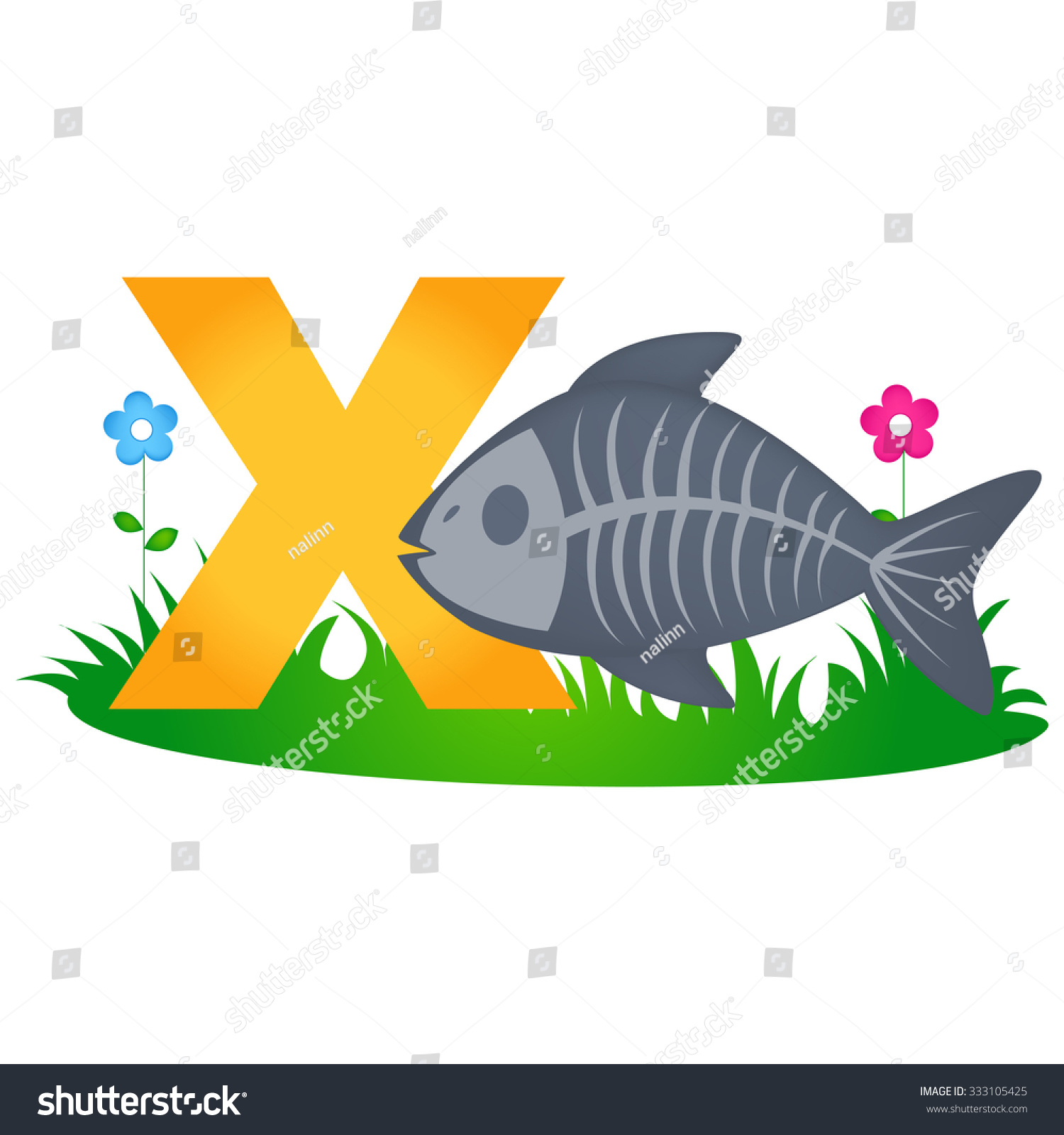 Colorful Animal Alphabet Letter X With A Cute X Ray Fish