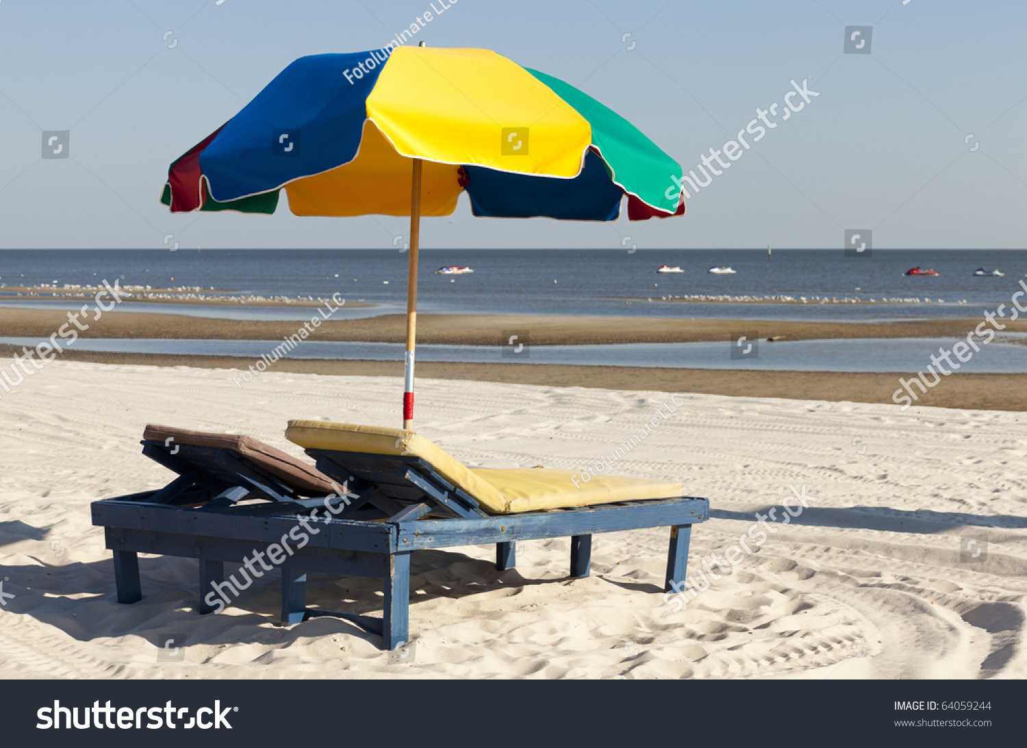 Beach Lounge Chairs Colorful Beach Lounge Chairs Umbrella Along Stock Photo Edit Now
