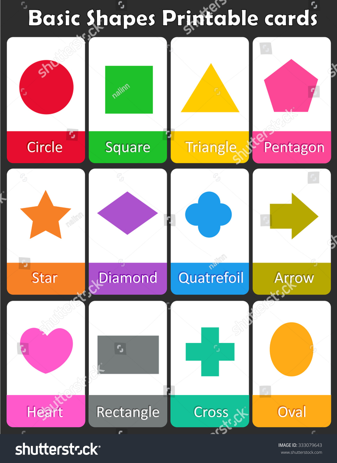 Colorful Geometric Shapes With Their Name Flash Card