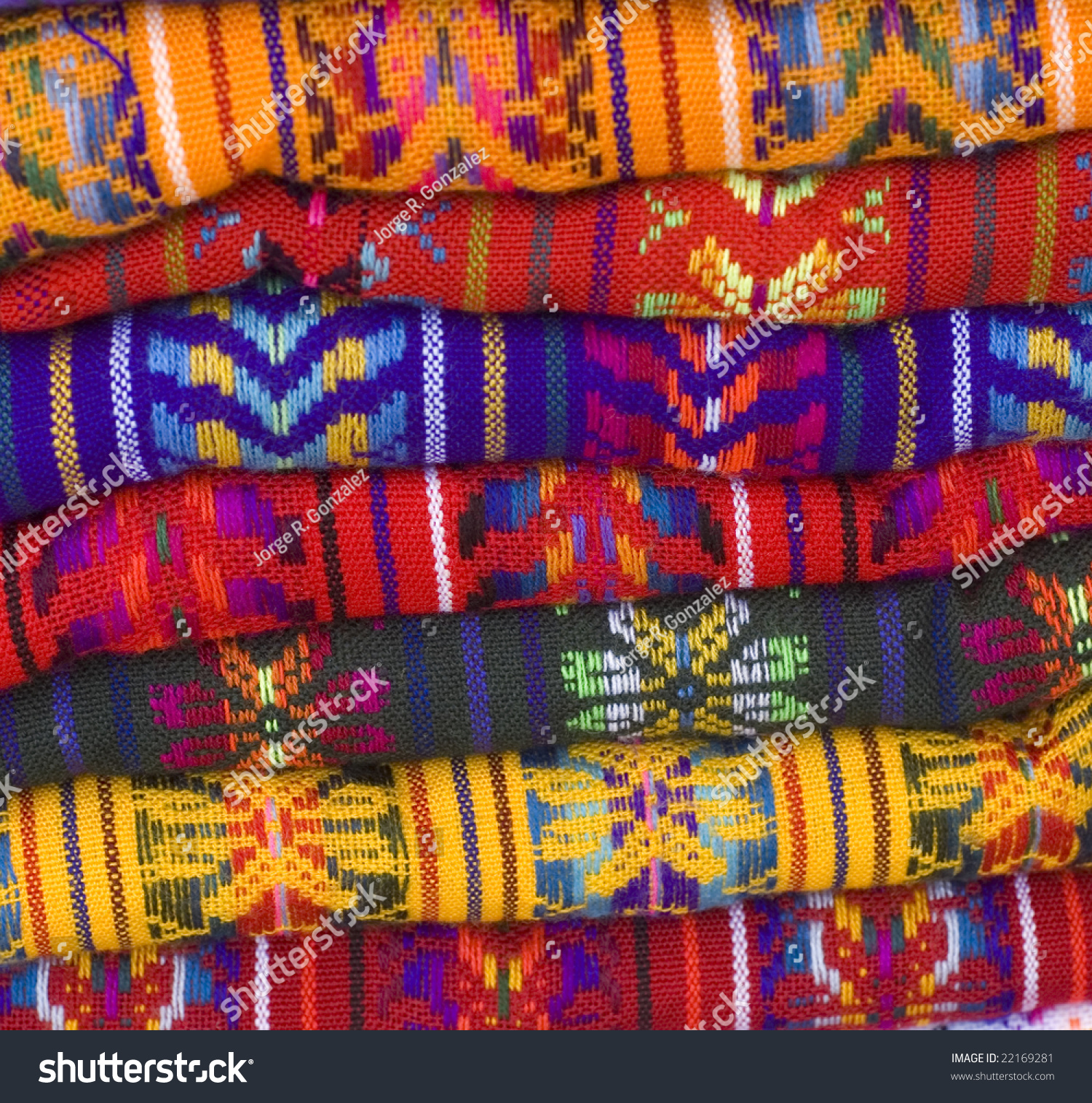 Colorful Native American Mayan Blankets Showing Stock